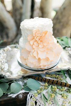 peach wedding cake, photo by Erica Houck Photography http://ruffledblog.com/rural-california-wedding #weddingcake #cakes