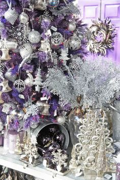 silver christmas, shades of purple, shabby chic christmas, purple christmas, white christmas, purpl christma, color combinations, christmas trees, tree homes