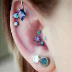 bodi mod, tiffany blue, doubl cartilag, ear piercings, white gold, tattoo, blues, tripl conch, conch pierc
