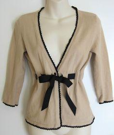 White House Black Market Top Sweater Sweater Beige Bow Belt Cardigan Cleavage S | eBay $14