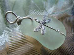 Dragonfly Dreams Sterling Silver & Seaglass Pendant  $32.00