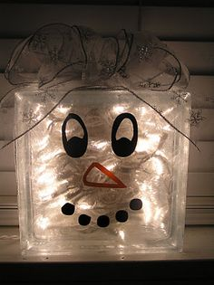 snowman glass block with lights
