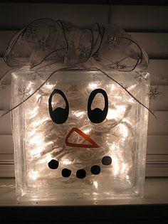 snowman glass block with lights