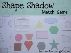 Shape Shadow Match Game - FREE printable game board. #preschool #efl #education (pinned by Super Simple Songs)