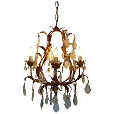 Fabulous Vintage Italian Tole Petite Bird Cage Chandelier w/ Cut Glass Prisms Lusters Gilt Metal Florentine Mediterranean Birdcage #rubylane #tole antiqu light