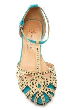 Turquoise studded flats