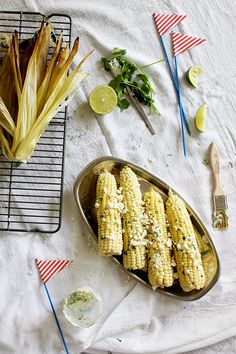Grilled corn with lime cilantro butter and feta