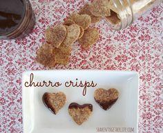 baked cinnamon sugar churro crisps with hot fudge sauce at shakentogetherlife.com chip, hot fudge sauce, valentine treats, bake churro, bake cinnamon, dipping sauces, churro crisp, fudg sauc, dessert