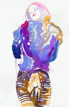 "Saatchi Online Artist: Cate Parr; Watercolor, 2011, Painting ""Modelink 12"" https://www.etsy.com/listing/180961208/print-of-watercolour-fashion?ref=shop_home_active_11"