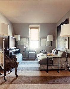 House Beautiful - striped carpet, deep sofa
