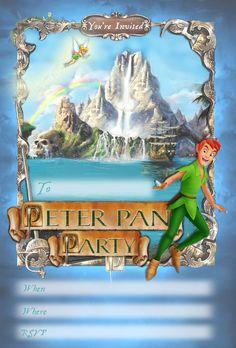 parti invit, birthday party invitations, birthday parties, free kid, pan printabl, peter pan birthday, kids, disney, kid parties
