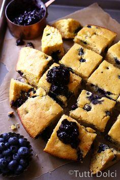 Blueberry Buttermilk Cornbread - blueberry buttermilk cornbread with blueberry topping, the absolute best cornbread!