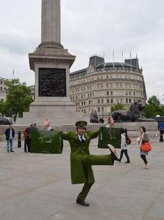 Richard - our 'special guest' Green Man - who is going to help us launch the Harrods Sale on Saturday June 15th at 9am, which will be opened with a spectacular surprise performance. Before the big day, Richard danced his way around London to spread the word about the Harrods Sale launch.