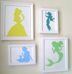 Google princess silhouette's, print on colored paper, cut out and glue on white paper. Easy peasy!