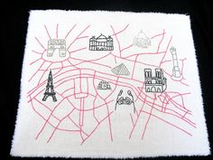 Paris Embroidered Map, Illustrated Style. $40.00, via Etsy.