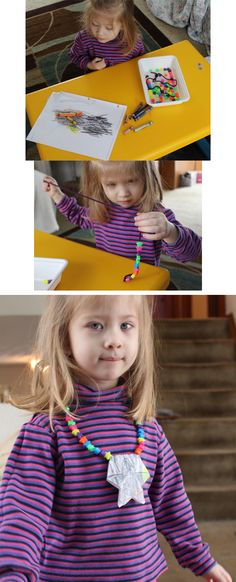 Starfish Necklace Activity - stringing the beads is awesome for fine motor