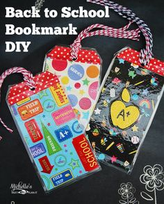 Back to School DIY Bookmarks made with #pickyourplum #PYP #tags #bakerstwine #washitape