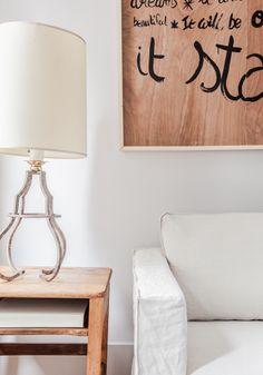 Wooden Warmth: school desk (http://www.frenchandscouser.com), Gustavian inspired metal lamp (Mother of Junk), handmade crumpled Belgian linen cover (http://www.bemz.com/en/)