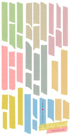 Washi Tape Strips - Free Clip Art by Pugly Pixel. Intended to be used as Web Graphics for things like Blog posts.