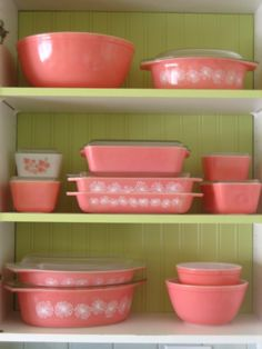 pink pyrex, dreams, vintage pink, green, colors
