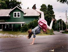 cartwheels in the street