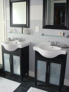 After simple bathroom vanity makeover, glass cabinet doors, opaque