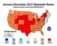 """2012 Was Warmest and Second Most Extreme Year On Record for the Contiguous U.S.  Jan. 8, 2013 — According to NOAA scientists, 2012 marked the warmest year on record for the contiguous United States with the year consisting of a record warm spring, second warmest summer, fourth warmest winter and a warmer-than-average autumn. The average temperature for 2012 was 55.3°F, 3.2°F above the 20th century average, and 1.0°F above 1998, the previous warmest year..."""