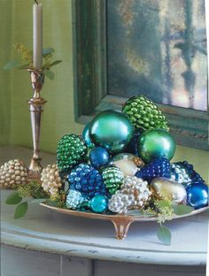 holiday, christma blue, color schemes, green christmas, blue green, blue gold christmas, blue christmas ornaments, glass ornaments, shades of green