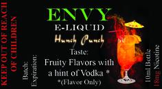 Envy Premium E liquid Collection Hunch Punch Sale! $4.95