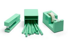 Color coordinated desk accessories from Poppin in a new mint shade