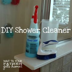 DIY Shower Cleaner To make the cleaner, you'll need: 8 oz. Dawn Dish Detergent {I've always used the classic dark blue kind for this cleaner} 8 oz. warm distilled white vinegar a few drops of essential oils {optional} 20 oz. spray bottle scrub brush