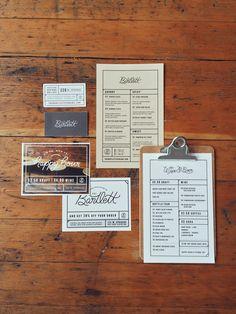 Bartlett menu design, branding design, graphic designers, brand identity, kar ingersol, inspir, bartlett menus, menus design, menu graphic design