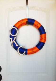 Oklahoma City Thunder yarn wreath