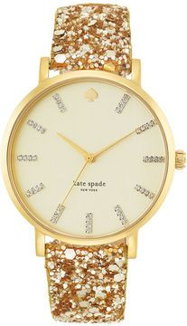 kate spade new york Watch, Women's Metro Grand Gold-Tone Glitter Leather Strap 38mm 1YRU0296A on shopstyle.com