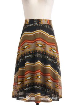 Midwest Mixer Skirt - Multi, Red, Orange, Yellow, Green, Black, White, Casual, A-line, Long, Folk Art, Rustic, Fall