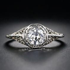 Diamond Rings .56 Carat Vintage Diamond Filigree Ring