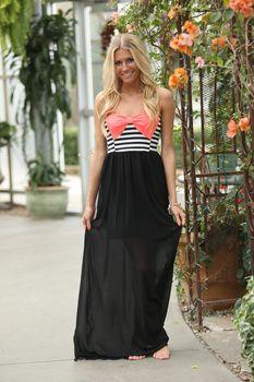 We Heart Bows Maxi Dress Hot Pink/Black - Modern Vintage Boutique