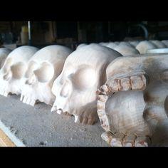 Josh Vogel hand carved wood skulls