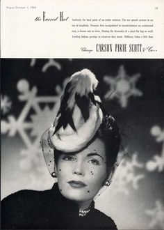 1943 HAT FASHION - Ermine Fur Hat & Veil - CARSON PIRIE SCOTT Chicago 5th Floor Millinery