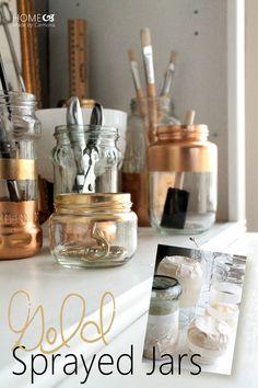 DIY - Gold Sprayed Jars - Tutorial