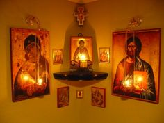 Home Altar with icons and San Damiano Crucifix hanging above.