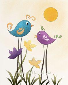 beauti bird, whimsical birds, whimsic bird, birdi, art prints, whimsical bird drawings, bird art, children art, art children