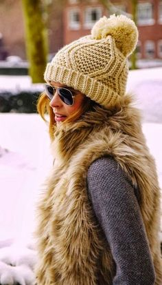 Cozy bobble beanie with comfy vest coat and ray bean shades