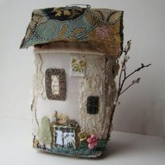 little houses, felt house, fairy houses, art, wool felt crafts, felt cottage, felted wool, doll houses, fabric houses