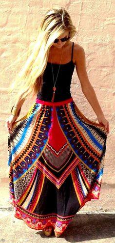 Tribal print long skirt and black top