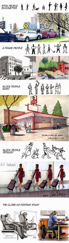 Urban Sketchers Chicago: Tuesday Tips & Tricks: How to include people in your urban sketches