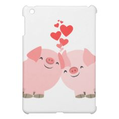Cute Cartoon Pigs in Love  Cover For The iPad Mini #ipad #cover #cheerfulmadness #love #cartoon #pigs #hearts