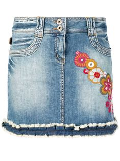 Moschino Pre-Owned appliqué-detail denim mini skirt - Blue