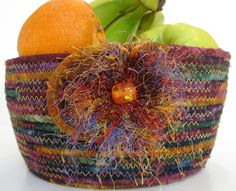Scrappy Clothesline Rope Basket Bowl Hand Coiled by SallyManke, $39.00