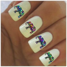 Elephant Nail Decals 40 Water Slide nail Decals by NailPretties, $3.95